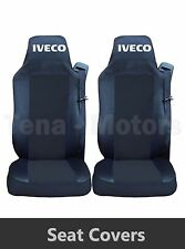 2 x IVECO STRALIS Seat Covers Tailored HGV Truck Lorry Black / Black LHD