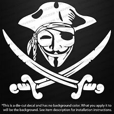 """Guy Fawkes Anonymous Pirate Mask 4.75""""X5.25"""" Car Window Decal Sticker NWO 0275"""