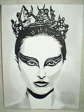 Canvas Painting Natalie Portman Black Swan B&W 16x12 inch Acrylic