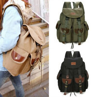 Vintage Men's Backpack Canvas Leather Hiking Travel Military Satchel School bag
