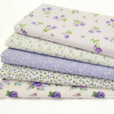 Fat Quarter Fabric Bundle Lilac Vintage Rose Floral Polycotton Material Remnant