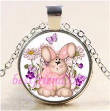 Tibet Silver Chain Pendant Necklace#Ca23 Cute Rabbit Bunny Photo Cabochon Glass
