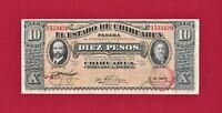 SCARCE ERROR DI-OBV-OP MEXICO UNC 10 Pesos 1915 Chihuahua Note Series N (P-S535)