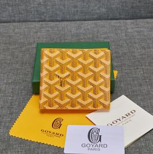 Goyard Bifold Leather Wallet yellow Men's