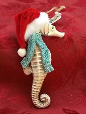 NEW FLAWLESS Stunning PIER 1 IMPORTS Ivory SANTA SEAHORSE Christmas Ornament