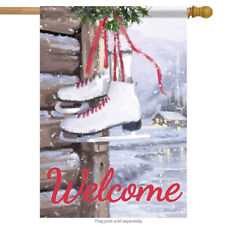 """Ice Skates Winter Welcome House Flag Cabin Lake Double Sided Banner 28"""" x 40"""""""
