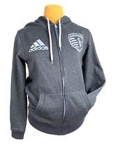 Adidas Sporting KC Zip Up Hoodie Sweatshirt Size Medium Gray Men'sKansas City