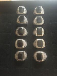 Mens Signet Onyx Ring Silver colour  x 10 Joblot wholsale