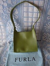 FURLA Italy GREEN LEATHER Small HANDBAG PURSE Original Storage Bag included