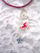 NEW 3 PIECE PENDANT HEART - UNICORN & STAR ON CHAIN TRIPLE CHARMS FUN NECKLACE