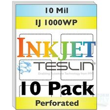 Inkjet Teslin Paper - 8up Perforated - For Making PVC-Like ID Cards - 10 Sheets