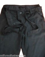 New Womens Black Linen NEXT Crop Trousers Size 10 Tall 10