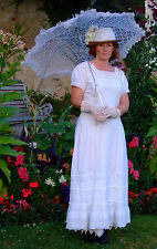 "Antique Edwardian Embriodery Anglaise White Summer Dress ""Oxford"" Trade Mark 12"
