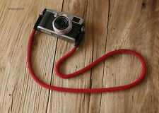 Cool Black leather fleck red Climbing rope 10.5mm  handmade Camera neck strap