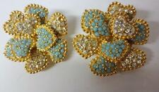 Vintage Signed Ciner Gold Tone Floral Turquoise Rhinestone Clip On Earrings