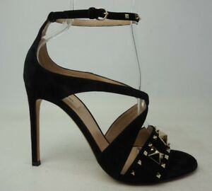 Valentino Rockstud Cross Strap Black Suede Sandals Heels Size 38