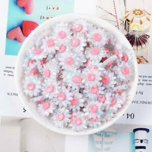 10pcs 18mm Resin Plastic Crystal Flowers Flatback Beads Glue On Embellishments