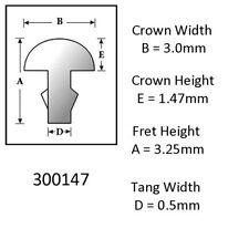 Sintoms 18% Nickel Silver Fret Wire 3.0mm. Set of 12 pieces