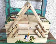 Authentic Hand Pinted Costurero Classic Mexican Wood Sewing Box Vitage Style