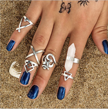 6pcs/Set Silver Women Boho Stack Plain Above Knuckle Ring Midi Finger Tip Rings