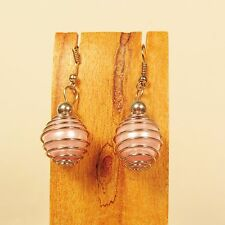 "1"" Light Pink Color Glass Pearl Faux Silver Handmade Drop Dangle Earring"
