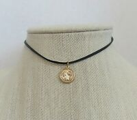 CHOKER Saint St BENEDICT Medal Pendant Necklace Black CORD ITALY Gold