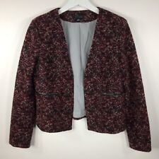 ANN TAYLOR Black Red Dyed Wool Blend Open Front Long Sleeve Jacket Womens Medium