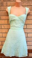 RIVER ISLAND MINT GREEN LACE SQUARE NECK SLEEVELESS SKATER A LINE PARTY DRESS 18
