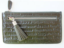 "Brighton ""Keynote"" Olive Embossed Leather Pouch Wallet with Tassel - NWT - $54"