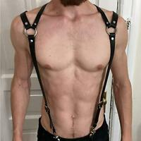 Mens Punk Adjustable PU Leather Body Chest Harness Strap Suspenders Belt Buckles