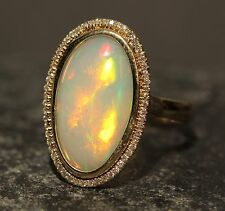 Ethiopian Opal Ring 14 K Gold w/ Diamond Gemstone Jewelry See Video! #1349