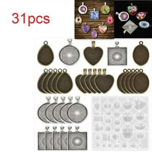 31Pcs Silicone Pendant Mold Jewelry Resin Necklace Mould Casting Craft DIY Set
