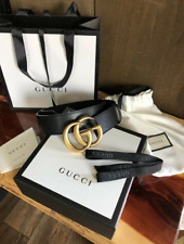 Authentic Gucci Double G Buckle Belt Black Leather Women New