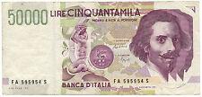 50000 LIRE  LORENZO BERNINI II TIPO LETTERA A 27/05/1992 BB