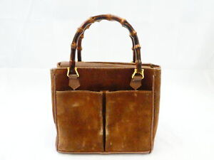 Auth Gucci Bamboo Handbag Brown/Gold Suede/Leather/Goldtone - AUC0062