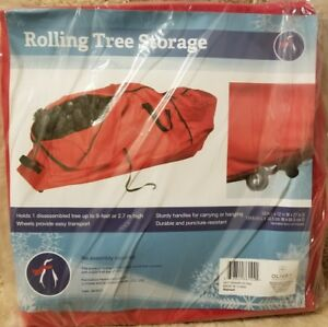 Christmas Artificial Tree Red Rolling Storage Duffel Bag 9' Container Wheels