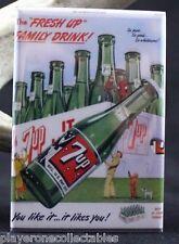 "7Up Vintage Advertising 2"" X 3"" Fridge / Locker Magnet. Classic Soda Pop Ad"