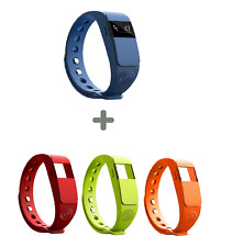 NINETEC F2 Fitnesstracker blau + 3x Ersatz Armband Fitness Aktivitätsband o/g/r