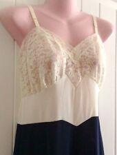 Vintage Van Raalte Opaquelon Full Slip Blue White Nylon Floral Lace Size 34