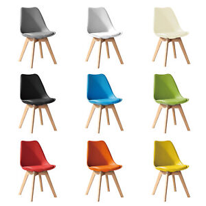 Jamie Dining Chair Eiffel Inspired Solid Wood Padded Seat Computer Desk Tulip