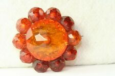 VICTORIAN ANTIQUE CARVED FACETED AMBER PIN