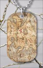 TREASURE MAP DOG TAG PENDANT NECKLACE FREE CHAIN -olk8Z