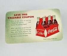 Belle ancienne Coca-Cola Coupon USA années 1950 - grâce à pour Vient - 6-bottle