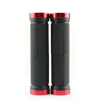 Rubber Mountain Bike Grips Bicycle Handlebar Hand Grips Lock-On Red and BLACK