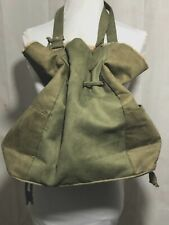 Neiman Marcus Olive Suede Purse Shearling Trim Cinches And Ties Medium Size