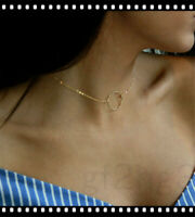 Necklace Karma Necklace, Delicate Chain / Dainty Circle Outline choker