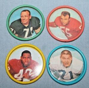 4 Vtg 60's Salada Junket Football Coins Alex Karras Bill Forester Matt Hazeltine