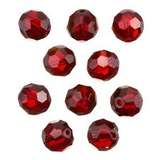 Red Transparent 12mm Faceted Crystal Round Glass Beads Pack of 10 (C34/3)