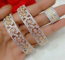Yellow Gold Tone American Diamond Studded Flower Design Bracelet Bangle & Ring