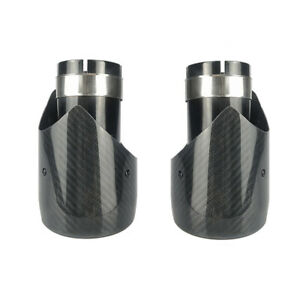 2PCS 63mm-89 mm Car Real Carbon Fiber + Stainless Steel Exhaust Pipe Tip Muffler